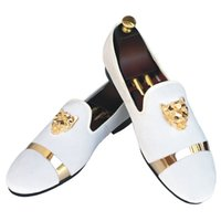 Wholesale Wedding Smoking - Handmade Men's Velvet Loafers Slippers With Gold Buckle Wedding Dress Shoes Slip-On Smoking Flats With Red Bottom Black White Red Blue