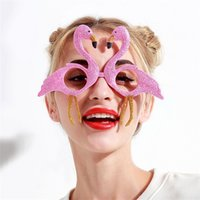 Wholesale pink flamingo bird - Flamingo Glasses Spectacles Party Gift Supplies Funny Gold Pink Flash Powder Ball Bird Creative Cartoon Factory Direct 9sf V