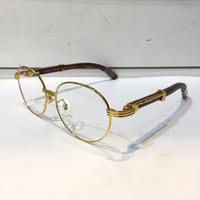 klasik ahşap kasa toptan satış-Lüks 8101013 Gözlük Reçete Gözlük Vintage Yuvarlak Çerçeve Ahşap Erkekler Tasarımcı Orijinal Durumda Retro Tasarım Altın Kaplama Gözlükler