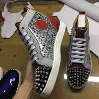 Wholesale gentleman shoes - 2018 Exclusive New High Quality Fashion Mens Patchwork With Spikes Red Bottom Casual Shoes Womens High Top Gentleman Sneakers Size 35-47