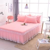 rosa gekräuselte kissenbezüge großhandel-Rosa Bett Rock Set Tagesdecke mit Kissenbezüge Lace Bett Rock mit Rüschen Bettwäsche Set für Mädchen Prinzessin Tagesdecke