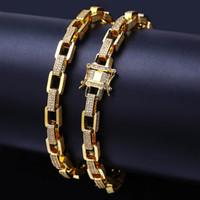pulsera cuadrada círculo al por mayor-Square Link Chain Circle HIPHOP Rock Jewelry 18k Gold Filled Iced Out Regalo Cool Street Boy Miami Pulsera de cadena de enlace