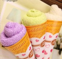 Wholesale towel party favors resale online - New Christmas gifts ice cream cake towel cm Mini Square Cake Towel cotton Towel Wedding Birthday party Favors gifts