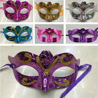 Wholesale cartoon gold bars online - Colorful Party Mask With Gold Glitter Halloween Costume Unisex Festival Party Bar Butterfly Masquerade Venetian Mask For Christmas WX9