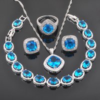 Wholesale Blue Jade Rings - FAHOYO Sky Blue Zirconia Suqare Design For Women 925 Sterling Silver Jewelry Sets Bracelet Necklace Pendant Earrings Ring QS0127