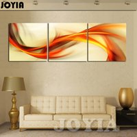 Wholesale Orange Abstract Canvas Art - 3 Piece Wall Art Abstract Painting Home Decoration Modern Picture Set Yellow Orange Winds Canvas Prints For Living Room No Frame