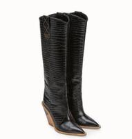 lycra vestidos de moda longa venda por atacado-2018 novas cunhas calcanhar na altura do joelho botas longas para as mulheres Moda ladies'pointed toe calcanhar longo botas femininas sapatos