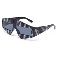 gläser ac großhandel-2018 Sonnenbrille Frauen Marke Sparkling Diamond Design One Slice Sonnenbrille Mens PC Full Frame AC Objektiv UV400 Hohe Qualität
