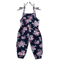 Newborn baby girl flower print bib overalls jumpsuit outfit summer retro dungaree kids girls clothing boutique clothes