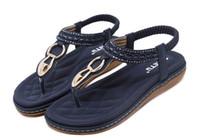 boncuk sandaletleri toptan satış-Yeni kadın Bohemia Düz sandalet ayakkabı kadın Dize Boncuk flip flop Metal Dekorasyon plaj sandalet rahat ayakkabılar boyutu 34-42