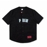 jerseys de uniforme de béisbol al por mayor-18ss Luxury Box Logo Tshirt Moda Hombres Mujeres Ropa Deporte Corduroy Uniforme de béisbol Jersey Camiseta Casual Abrigo