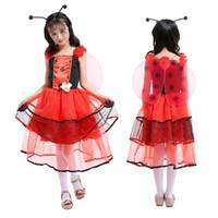 güzel peri kostümleri toptan satış-Çocuk günü Kostümleri Cosplay Çocuk Giyim Kız Pretty Ladybird Peri Oyun Giysileri Elbise Kız Elbise Cadılar Bayramı Kostümleri