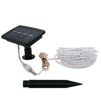 ingrosso ip68 ha condotto le luci della striscia di rgb-Edison2011 BIG pannello solare a LED striscia alimentata ad energia solare SMD2835 5M 150 LED 2 modalità di illuminazione IP68 impermeabile decorazione esterna interna