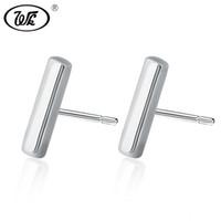 925 стерлингов стерлингов оптовых-WK 925 Geometric T Bar Simple Minimalist Earrings Women Real Pure 925 Sterling Silver Stud Earrings Jewelry Accessories W1 EA059