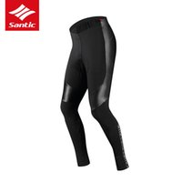 Wholesale thermal cycling tights men for sale - Group buy Santic Winter Men Cycling Long Padded Pants D Cushion Pad Reflective Thermal Cycling Pants Keep Warm Bike Tights Asian