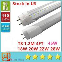 tubo led de 4 pies al por mayor-Stock en EE. UU. 4 pies 18 W 20 W 22 W 28 W 45 W T8 Tubo de luz LED Iluminación LED Lámpara de tubo fluorescente Tubos LED de 1,2 m