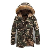 Wholesale Mens Thick Lined Winter Coat - 2017 Winter Mens Long Camo Jackets Extended Warm Parka Male Cotton Lined Longline Camouflage Coats