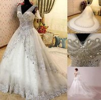 Wholesale empire line lace wedding dresses white for sale - Gorgeous A Line Wedding Dresses V Neck Sleeveless Tiered Skirts Sequins Crystals Beaded Sexy Back Bridal Dresses Luxurious Wedding Gowns