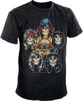 импортные розы оптовых-Официальный Guns N Roses-Heads Vintage-мужская черная футболка импорт