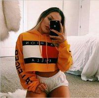 Wholesale 2019 Fashion Women Hoodie Pullover For Girl Sweatshirt Jumper Sweater print crop top Coat sports Pullover Tops