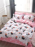 lits de chat modernes achat en gros de-3pcs / 4pcs ensemble de literie motif de chat de bande dessinée imprimant des draps de lit doux confortables