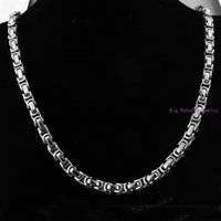 """Wholesale Mens 8mm Silver Chain - 8-40"""" High Quality 316L Stainless Steel Silver Byzantine Box Chain Mens Boys Necklace&Bracelet Bangle 8mm Wholesale Retail!"""