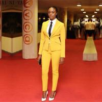casacos de negócios amarelos das mulheres venda por atacado-Jaqueta + Calças Mulheres Azuis Ternos de Negócio Blazer Feminino Escritório Uniforme 2 Peça Senhoras Ternos Formais de Inverno Um Botão Personalizado