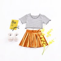 Wholesale Strip Skirt - Ins 2 Pieces Kids girl summer sets stripped shirt +pleuche skirt sets little girl fashion style pleuche sets