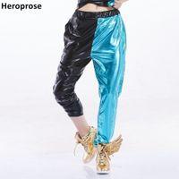 mavi harem pantolon kadınlar toptan satış-Yeni Moda Kadınlar Siyah Mavi Patchwork Çok cepler Caz Sahne performansı sokak Gösterisi Kişilik Dans Hip Hop Harem Pantolon