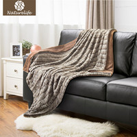 Wholesale Microfiber Blanket Soft - Naturelife Super Soft Faux Fur Blanket Warm PV Fleece Blankets Reversible with Sherpa Shaggy Fuzzy Fur Carved Rabbit Blanket