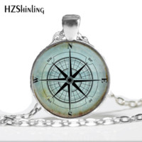 pingente de colar vintage bússola venda por atacado-Glass Dome Necklace Vintage Compass Necklace, Compass Rose, Wind Rose, Nautical Jewelry, Sailor's, Ocean Art Pendant HZ1