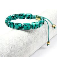 steine machen armbänder großhandel-Hochwertiges Herren Armband Howlite Square Echtes Stingray Leder Makramee Armbänder mit 10x10mm künstlichen Howlite Flat Stone Perlen