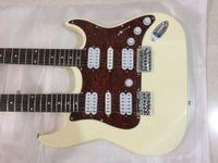 Wholesale double necks guitars resale online - Double Neck Electric Guitar String In Cream