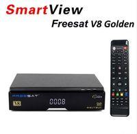 Wholesale Tuner Satellite - [Genuine] V8 Golden DVB-S2 + DVB-T2 + DVB-C Satellite TV Combo Receiver Support Power Vu Newcamd better than Openbox v8 pro combo