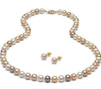 collares de perlas de color rosa caliente al por mayor-Hot 8-9mm Natural South Seas White Pink Purple Multicolor collar de perlas 18 pulgadas 14 k broche de oro pendientes gratuitos