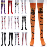 Wholesale bat women costume online - Halloween Cosplay Long Stocking Sock For Women Bat Bloody Skull Flag Cartoon Festival Masquerade Costume Leggings Stocking Socks WX9