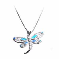 ingrosso collana opalina della farfalla-44 * 28 MM Classic Blue Fire Opal Big Butterfly Pendenti delle collane Gioielli animali per le donne 925 gioielli in argento