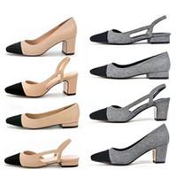 Wholesale white round pump heels - Women Designer Beige Gray Black Two Tone Leather Suede Slingback heels Pumps sandal Loafers Womens sandals Size 34-41 2CM 2.5CM 6Cm heel