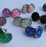 Wholesale Drusy Jewelry - 2018 Druzy Drusy Stud Earrings 12 Colors Rock Lava Crystal geometry Stone Earrings Jewelry for women Girl brithday christmas Gift