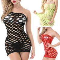 disfraces para muñecas al por mayor-Elasticidad de algodón Lenceria lencería sexy de malla caliente Baby Doll Dress lencería erótica para mujeres Sex Costumes Fishnet Underwear