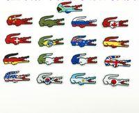 ingrosso bandiere diy-Qualità all'ingrosso Bandiera di Marca Patch Ricamate Ferro Sulla Giacca Magliette Borse Patch Applique FAI DA TE Ricamo Coccodrillo Patch 6 * 3 CM