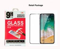 protetores de tela coloridos venda por atacado-Cobertura completa de vidro temperado filme de tela para iphone x 8 7 protetor de tela colorida completa cola 2.5d 0.33mm 9 h pacote de varejo