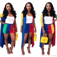 013f49eff0c 2 Piece Set Women 2018 Cardigan Long Trench Top And Bodycon Shorts Suit  Casual Clothes Summer Two Piece Outfits 3XL Plus Size