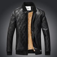 Wholesale khaki leather sleeve jacket - Europe New 2017 Winter Men's Fashion Pu Leather Wide Waisted Jackets Coats With Fleece Male Oversize Outwear