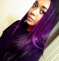 cheveux bruns bruns achat en gros de-Ombre Couleur 1B Purple Cheveux Trame 3 Bundles Brésiliens Vierge Cheveux Raides Weaves Sombre Racine Ombre Droite Brésilienne de Cheveux Humains