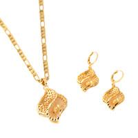 joyería de cristal blanco de la joyería fija al por mayor-Conjunto de joyas africanas Chapado en oro Pendiente Pendiente Geometría Conjunto de joyas de oro de compromiso