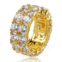 ingrosso grande cluster-New Gold Silver Color placcato micro pavimentato catena da tennis a 2 righe Big Zircone Hip Hop anello per le donne degli uomini