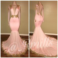 Wholesale Deep Illusion - 2018 New Sexy Open Back Pink Prom Dresses Mermaid Deep V Neck Long Sleeves Gold Appliques Sweep Train Formal Evening Gowns BA7606