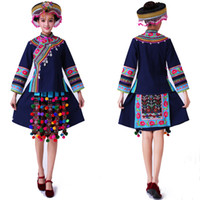 Wholesale performance clothing for singers online - New Hmong miao clothing women stage costumes for singers national festival performance clothing Chinese folk dance costume