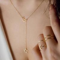 ingrosso stella di pendente di zinco-Collana della collana della catena dello zinco della lega di colore della lega del pendente di ChokerGold della stella di modo per la collana di tiro con l'arco dei gioielli del partito delle donne